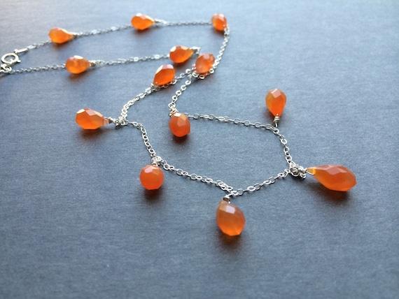 Handmade Faceted  Orange Carnelian Teardrop Necklace Orange Stone Necklace