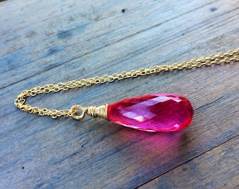 Big Hot pink Topaz pendant, 14k gold fill Necklace, statement jewelry, teardrop, Faceted briolette.  Wire wrapped. Gemstone pendant.
