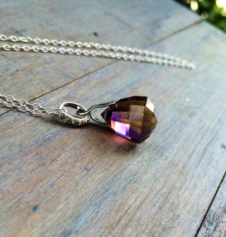 50fa85d11553e Bolivian Ametrine pendant Necklace Pave Sterling Silver. Purple yellow  stone solitaire. Elegant Jewelry - Gift for wife.