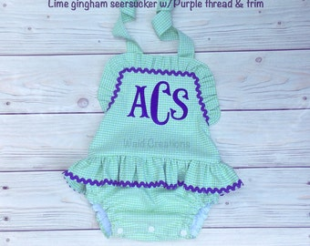 Baby girl bathing suit with SNAPS in crotch, Monogram swimsuit, Baby Girls One piece ruffle swimsuit with SNAPS in CROTCH Boutique handmade