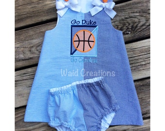Football or Basketball 'House Divided' baby, toddler girl A-Line dress and bloomers