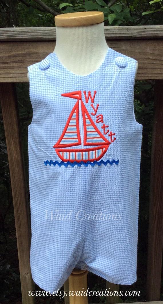 Boys Nautical Sailboat Jon Jon,Nautical Wedding Nautical Romper Boys shortall Sailboat