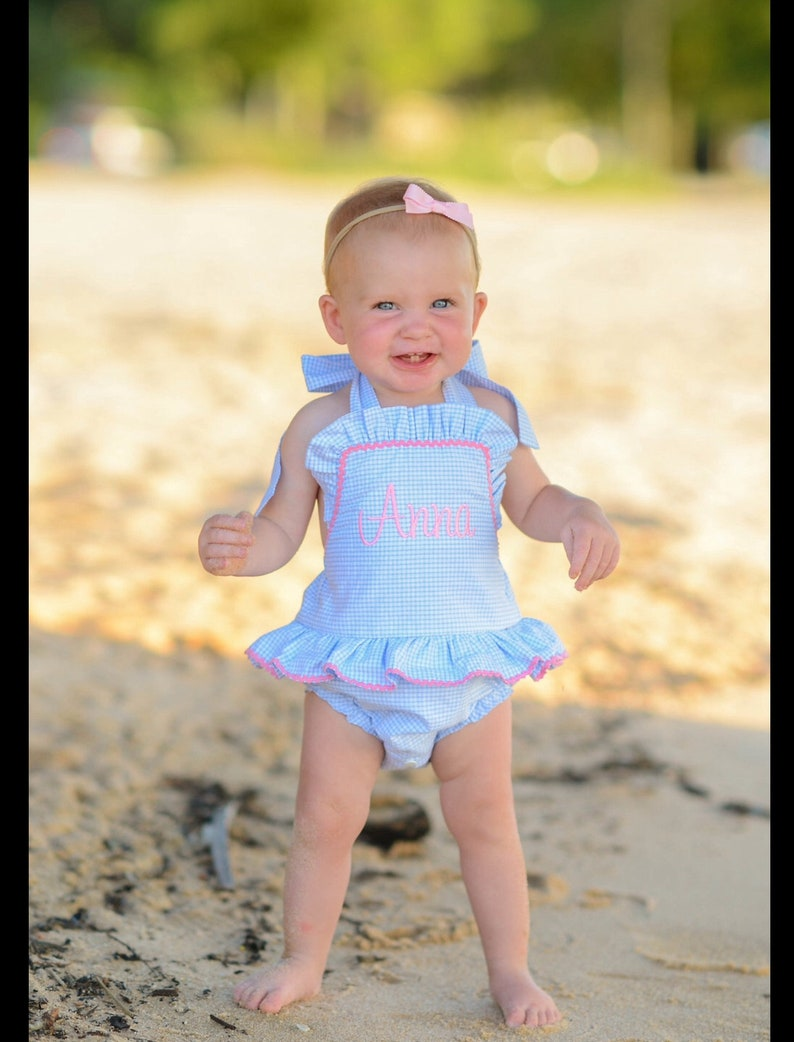 Baby Girls One piece monogram ruffle swimsuit Boutique image 0