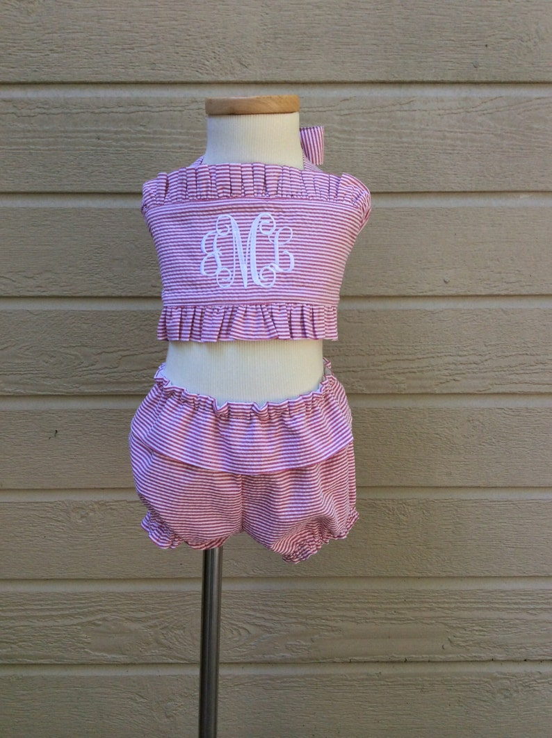 Monogram baby Toddler Girls 2 piece boutique handmade ruffle gingham swimsuit monogram bikini