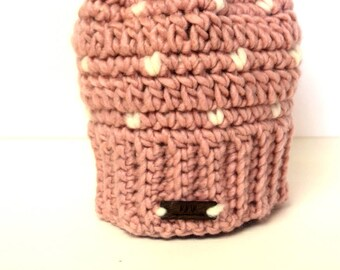 640bf5f57b5 Little Heart Beanie In Pink and White Snowflakes with Faux Fur Pom Pom