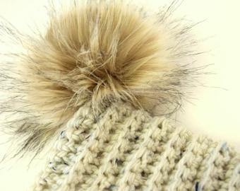 05031ad4863 SNOW BUNNY Beanie In Lavender with Faux Fur Pom Pom Wool