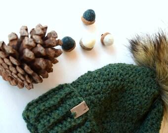 4d937fb2180 TWEED Cranberry Beanie Faux Fur Pom Pom Highland Wool