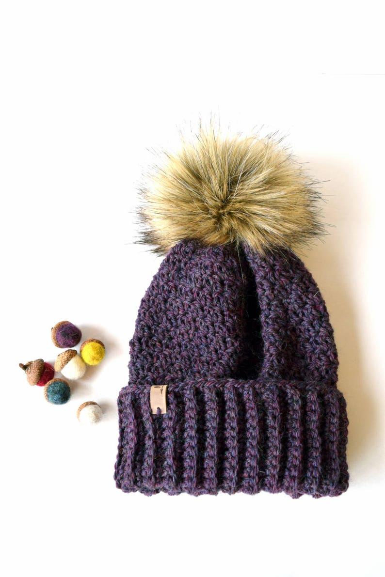 02ebe75ad9f ASPEN Beanie In Purple with Faux Fur Pom Pom Wool Purple