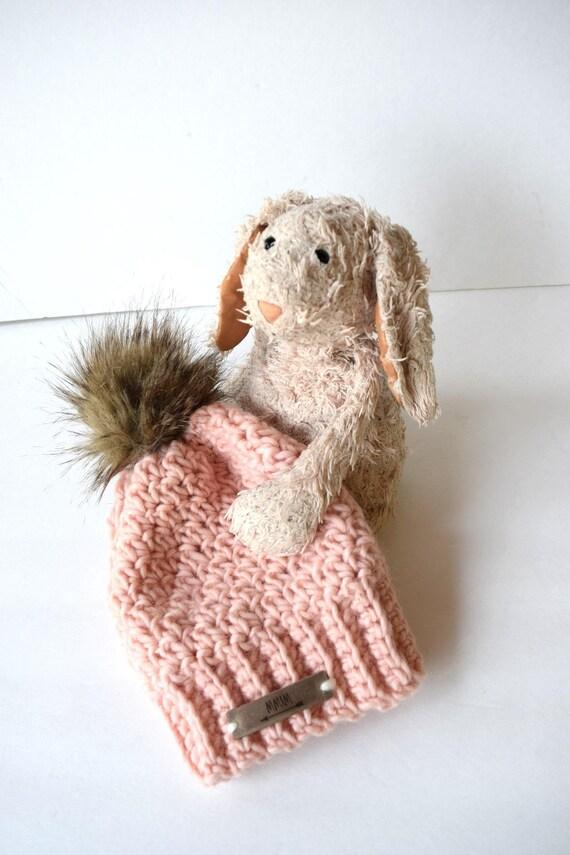 d21bb77f5d0 SNOW BUNNY Beanie In Powder Pinkwith Faux Fur Pom Pom Wool