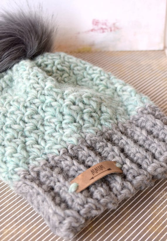04a69be4e15 SNOW BUNNY Beanie In Light Gray and Aqua with Faux Fur Pom