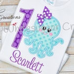 Octopus Embroidered Birthday Shirt - Personalized Birthday Bodysuit, First Birthday, Second Birthday, Monogrammed, Custom, Birthday Party