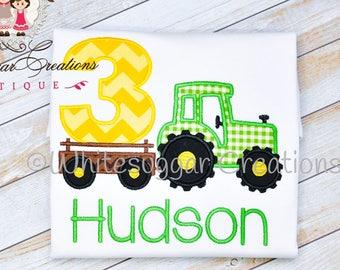 Boy Third Birthday Shirt - Tractor Birthday Shirt, Custom Embroidered Boy Shirt, Farm Birthday, 3rd Birthday Outfit, 3rd Birthday Boy Shirt