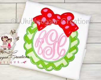 Girl Wreath Christmas Shirt - Baby Girl Outfit - Personalized Christmas Gift, Toddler Holiday Oufit, Embroidered, Monogrammed
