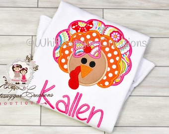 Thanksgiving Turkey Embroidered Shirt or Shirt for Girls - Colorful Turkey Shirt - Embroidered, Personalized, Gift for her