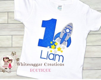 6843e1890 Boy Rocket Birthday Shirt - Embroidered Baby Boy Shirt - Space Shirt - Baby  Boy Rocket Ship Outfit