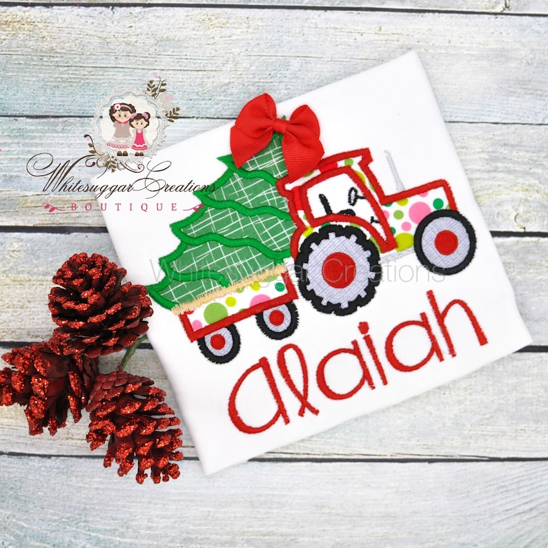 Girl Tractor with Tree Shirt Baby Gift Embroidered image 0