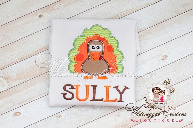 Baby Boy Personalized Holiday Gift Boy Turkey Embroidered Bodysuit Thanksgiving Turkey Applique Shirt