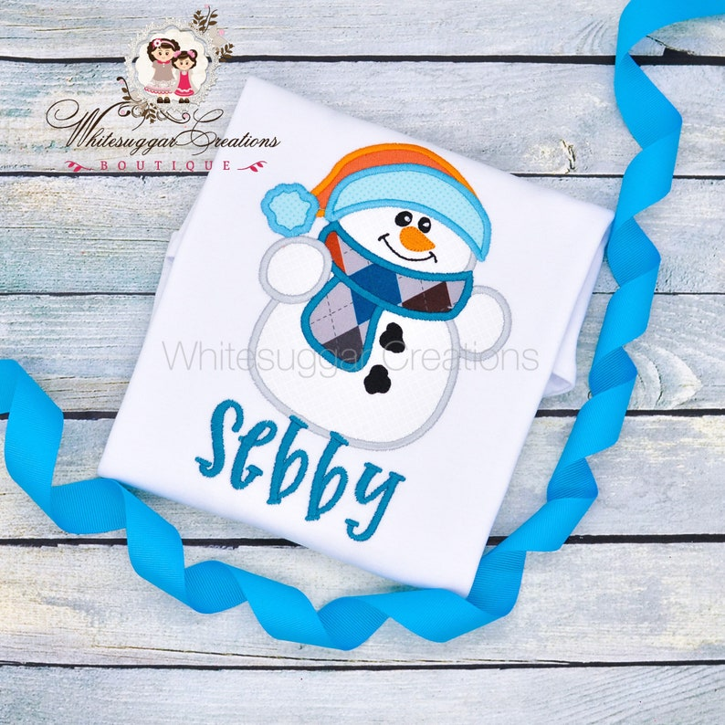 Christmas Snowman Shirt Baby Boy Gift Embroidered image 0