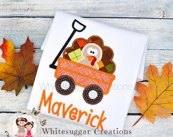 Baby Boy Turkey in a Wagon Shirt - Toddler Thanksgiving Outfit - Monogram Turkey Shirt - Embroidered Gift