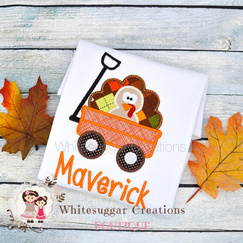 Baby Boy Turkey in a Wagon Shirt  Toddler Thanksgiving Outfit image 0