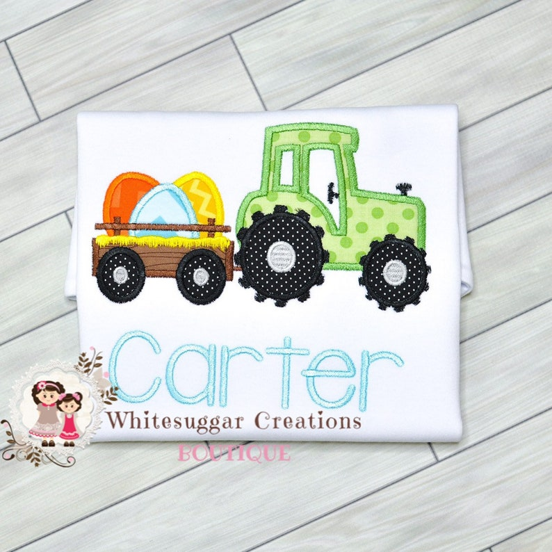 Boy Easter Trailer with Eggs Shirt  Easter Tractor Outfit  image 0