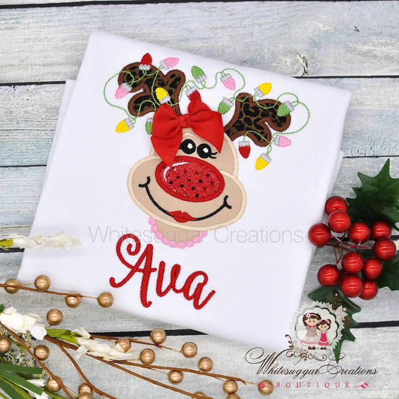 Girl Reindeer with Lights and Pearls Shirt  Christmas Outfit image 0