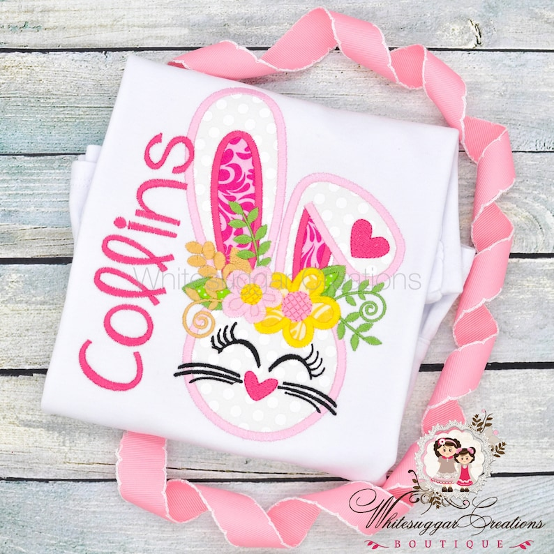 Floral Easter Bunny Shirt for Girls Floral Bunny Shirt Baby image 0