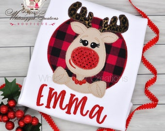 Christmas Reindeer Girl Shirt, Toddler Christmas Outift, Buffalo Plaid Baby Gift, Embroidered, Personalized Toddler Outfit, Holiday Gift