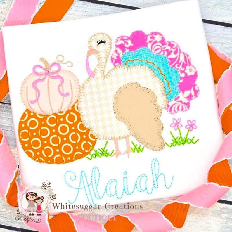 Elegant Turkey with Pumpkins T-shirt Embroidered Gift  image 0