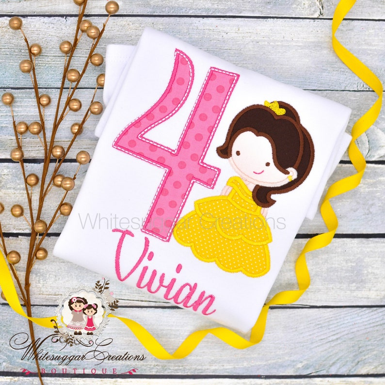 Fourth 4Th Birthday Shirt Belle the Beauty Princess Birthday image 0