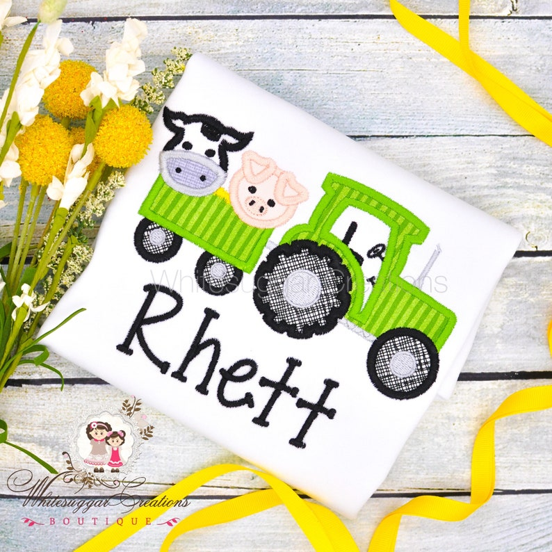 Farm animals on Tractor Shirt Baby Boy Personalized Toddler image 0