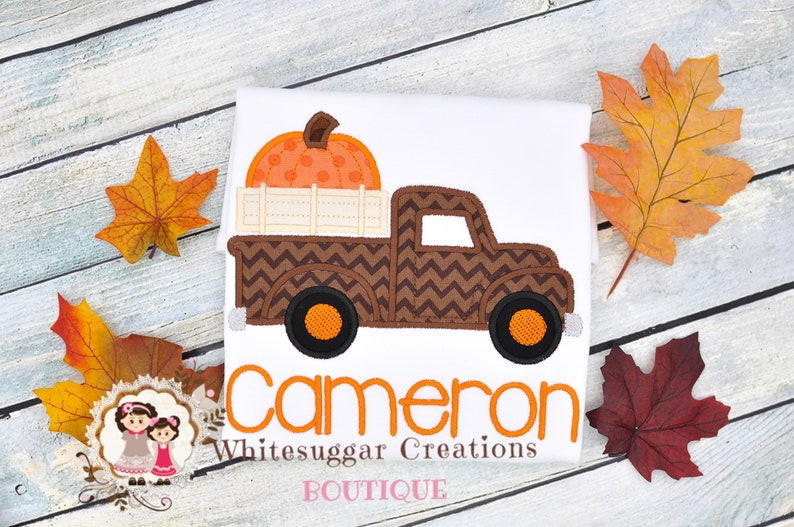 Thanksgiving Old Truck Shirt With Big Pumpkin Personalized image 0