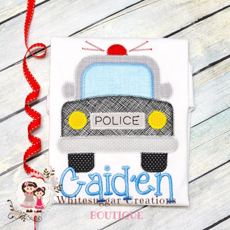 Police Car Shirt  Personalized Car Shirt  Embroidered Baby image 0