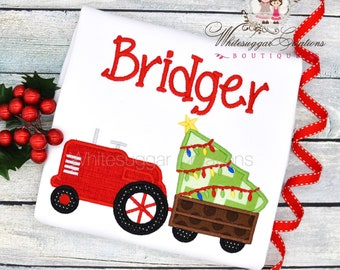 Christmas Tractor Shirt - Baby Boy Tractor Outfit, Baby Gift, Embroidered, Personalized Toddler Outfit, Holiday Gift
