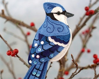 Blue Jay Sewing Pattern PDF - Backyard Bird Stuffed Ornament - Felt Plushie - Byron the Blue Jay - Instant Download