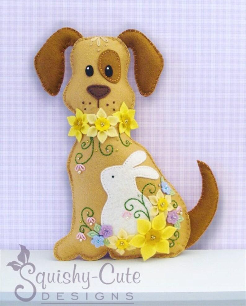 Dog Stuffed Animal Pattern  Felt Plushie Sewing Pattern & image 0