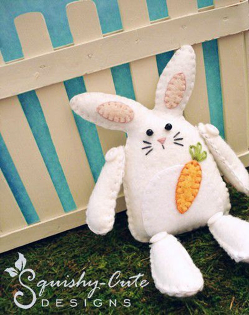 Bunny Sewing Pattern PDF  Stuffed Animal Felt Plushie  image 0