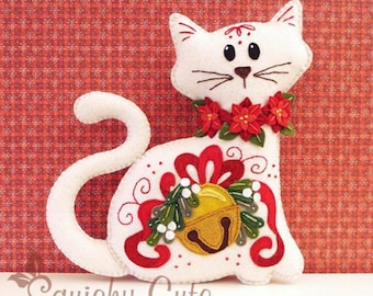 Cat Stuffed Animal Pattern - Felt Plushie Sewing Pattern & Tutorial - Jingle the Christmas Cat - Christmas Embroidery Pattern PDF