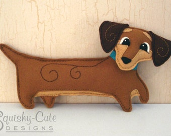 Dachshund Sewing Pattern PDF - Dog Stuffed Animal Felt Plushie - Doodle The Dachshund - Instant Download