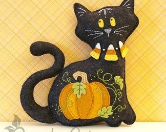 Cat Stuffed Animal Pattern - Felt Plushie Sewing Pattern & Tutorial - Midnight the Halloween Cat - Halloween Embroidery Pattern PDF