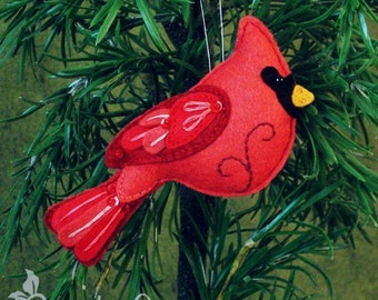 Cardinal Sewing Pattern PDF - Backyard Bird Stuffed Ornament - Felt Plushie - Clarence the Cardinal - Instant Download