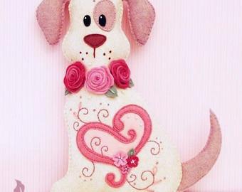 Dog Stuffed Animal Pattern - Felt Plushie Sewing Pattern & Tutorial - Hugs the Valentine Dog - Embroidery Pattern PDF