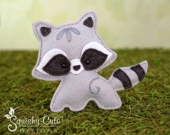 Raccoon Sewing Pattern Pdf Felt Baby Raccoon Ornament Etsy