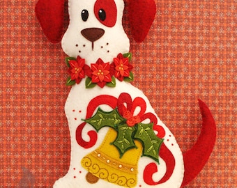Dog Stuffed Animal Pattern - Felt Plushie Sewing Pattern & Tutorial - Holly the Christmas Dog - Christmas Embroidery Pattern PDF