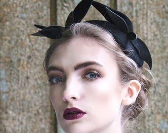 Black Cocktail Headpiece, Felt Fascinator, Hand Sewn, Occasion Hat - Selki