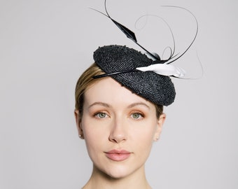 6944315d Cocktail Hat with Feathers, Black and White Modern Millinery, Knotted Straw  Headpiece, Garden party, Wedding - Astrid