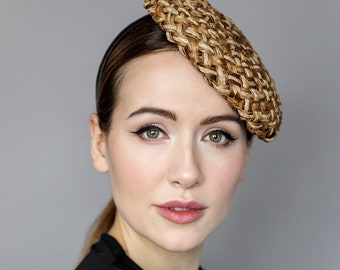 Straw Beret with Pattern, Hat on Headband, Headpiece for Garden Parties, Ladies Day, Weddings - 'The Weaver'