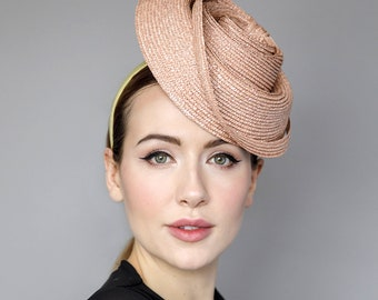 "Straw Fascinator, Mini Straw Hat on Headband, Headpiece for The Races, Garden Parties, Ladies Day, Weddings - 'Scutlpted Twist"""