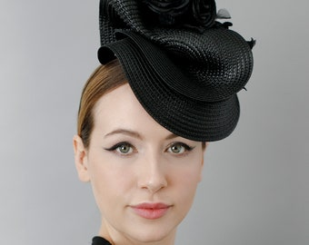 Straw Hat with Roses, Hatinator for Garden Parties, Mother of the Bride Fascinate Headpiece - 'Rothko'
