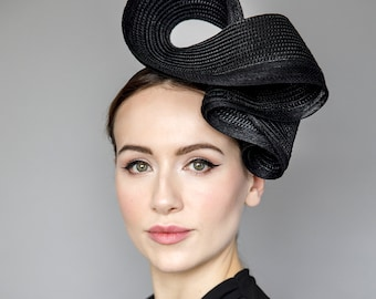 """Straw Headpiece for The Races, Elegant Hat for Garden Parties, Ladies Day and Weddings - 'Ink Swirl"""""""